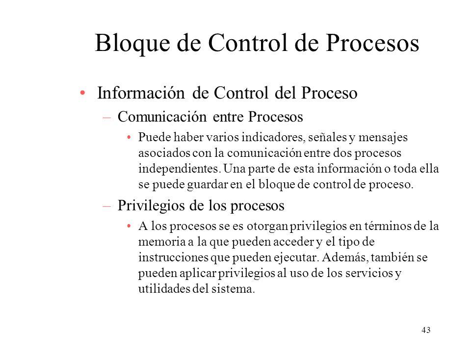 43 Bloque de Control de Procesos Información de Control del Proceso –Comunicación entre Procesos Puede haber varios indicadores, señales y mensajes as