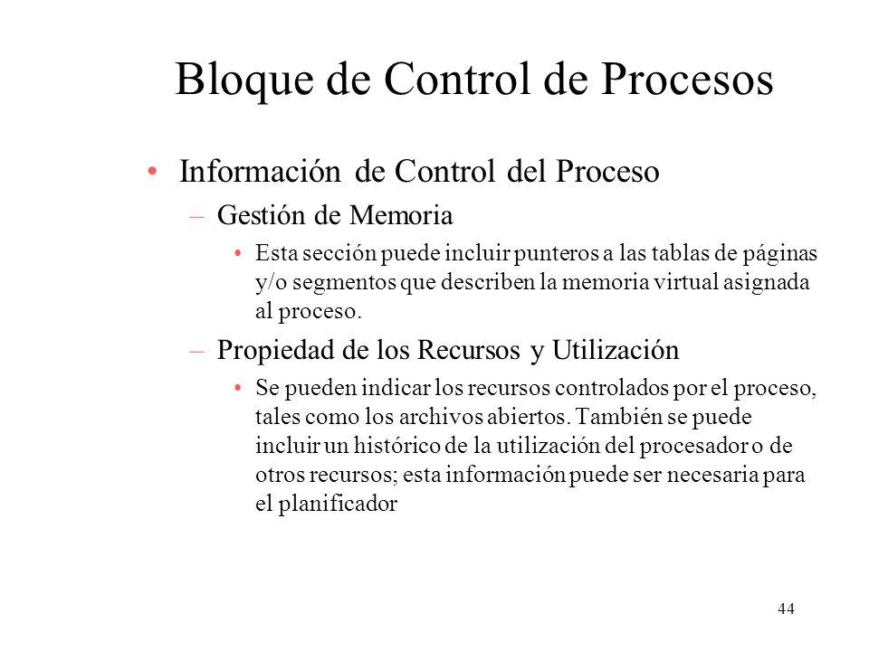 44 Bloque de Control de Procesos Información de Control del Proceso –Gestión de Memoria Esta sección puede incluir punteros a las tablas de páginas y/