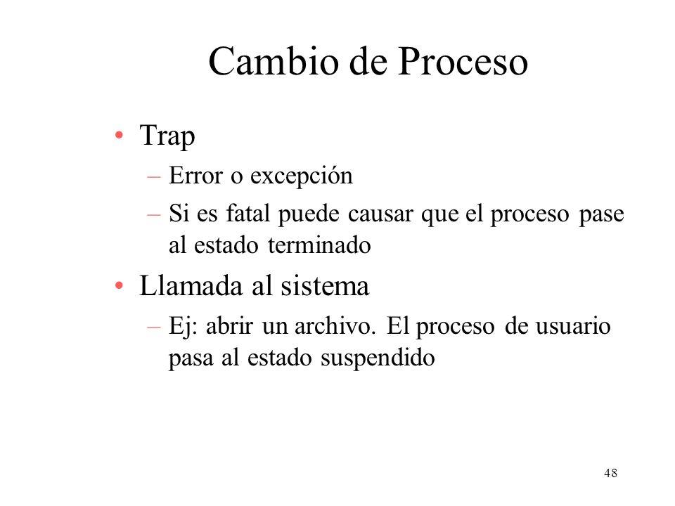 48 Cambio de Proceso Trap –Error o excepción –Si es fatal puede causar que el proceso pase al estado terminado Llamada al sistema –Ej: abrir un archiv