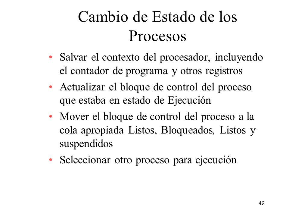 49 Cambio de Estado de los Procesos Salvar el contexto del procesador, incluyendo el contador de programa y otros registros Actualizar el bloque de co