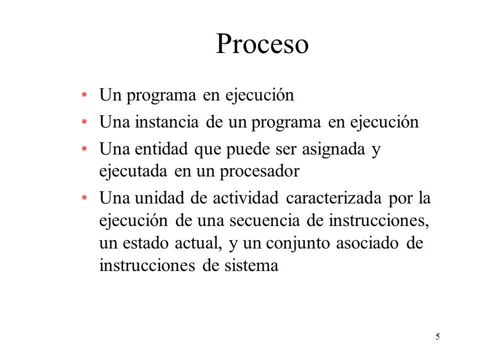 5 Proceso Un programa en ejecución Una instancia de un programa en ejecución Una entidad que puede ser asignada y ejecutada en un procesador Una unida