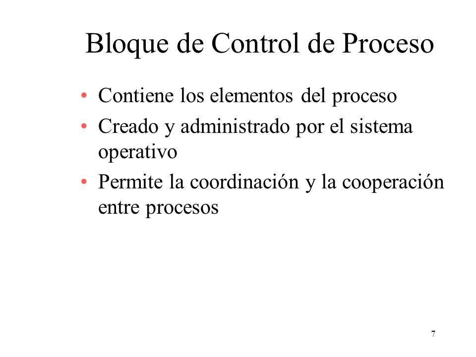 7 Bloque de Control de Proceso Contiene los elementos del proceso Creado y administrado por el sistema operativo Permite la coordinación y la cooperac