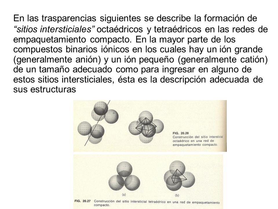 En las trasparencias siguientes se describe la formación de sitios intersticiales octaédricos y tetraédricos en las redes de empaquetamiento compacto.