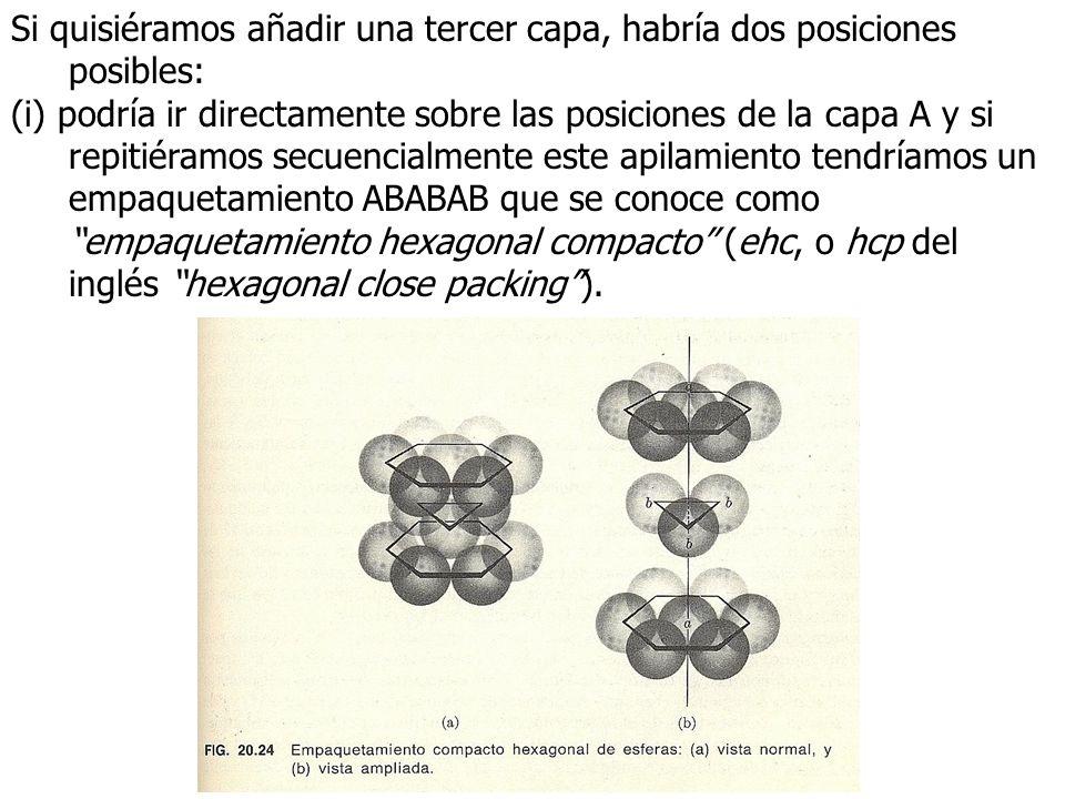 Si quisiéramos añadir una tercer capa, habría dos posiciones posibles: (i) podría ir directamente sobre las posiciones de la capa A y si repitiéramos secuencialmente este apilamiento tendríamos un empaquetamiento ABABAB que se conoce como empaquetamiento hexagonal compacto (ehc, o hcp del inglés hexagonal close packing).