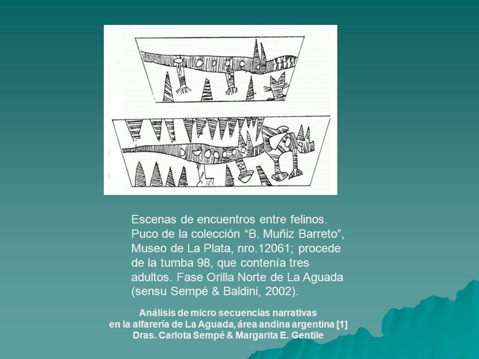 Escenas de encuentros entre felinos. Puco de la colección B. Muñiz Barreto, Museo de La Plata, nro.12061; procede de la tumba 98, que contenía tres ad