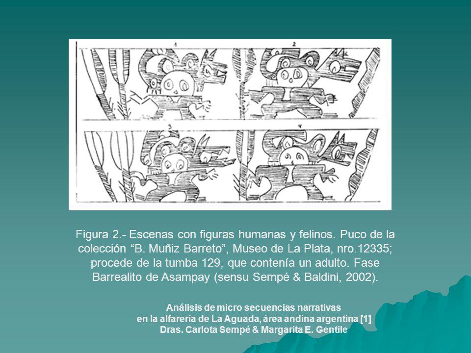 Figura 2.- Escenas con figuras humanas y felinos. Puco de la colección B. Muñiz Barreto, Museo de La Plata, nro.12335; procede de la tumba 129, que co