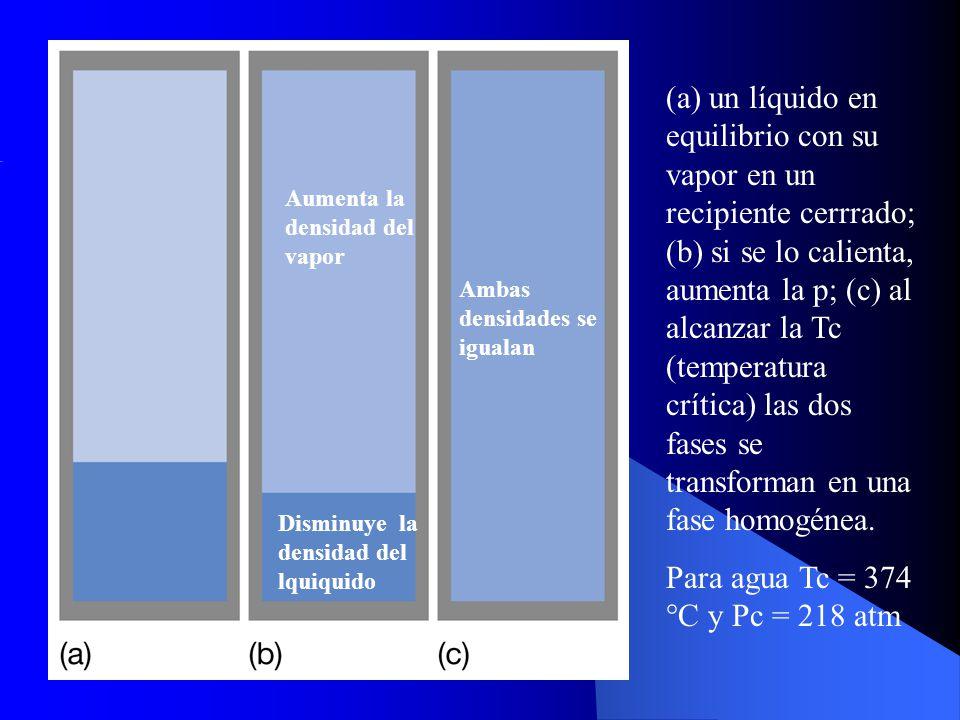 (a) un líquido en equilibrio con su vapor en un recipiente cerrrado; (b) si se lo calienta, aumenta la p; (c) al alcanzar la Tc (temperatura crítica)