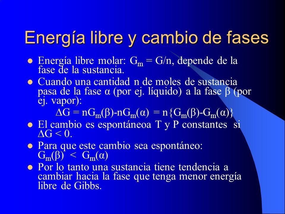 Energía libre y cambio de fases Energía libre molar: G m = G/n, depende de la fase de la sustancia. Cuando una cantidad n de moles de sustancia pasa d