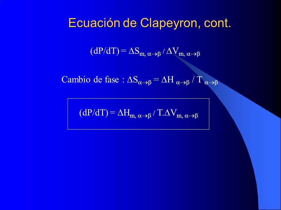 Ecuación de Clapeyron, cont. Cambio de fase : S = H / T (dP/dT) = S m, / V m, (dP/dT) = H m, / T. V m,