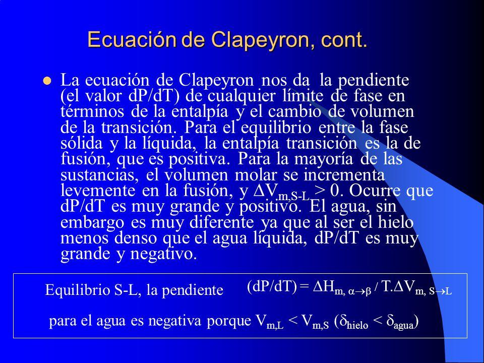 La ecuación de Clapeyron nos da la pendiente (el valor dP/dT) de cualquier límite de fase en términos de la entalpía y el cambio de volumen de la tran