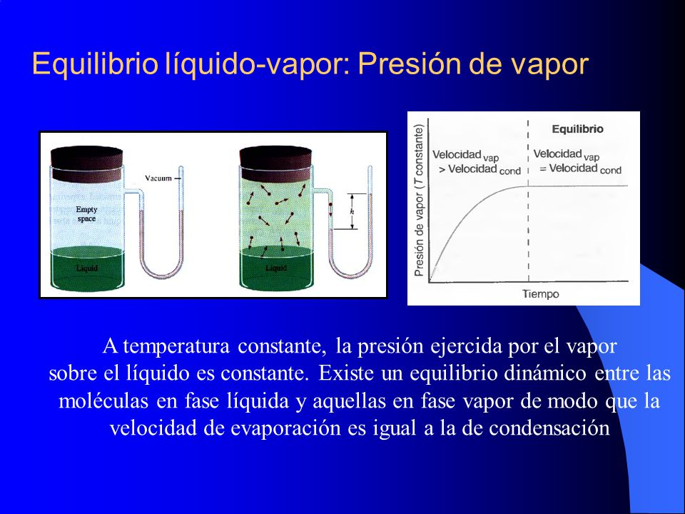 A temperatura constante, la presión ejercida por el vapor sobre el líquido es constante. Existe un equilibrio dinámico entre las moléculas en fase líq