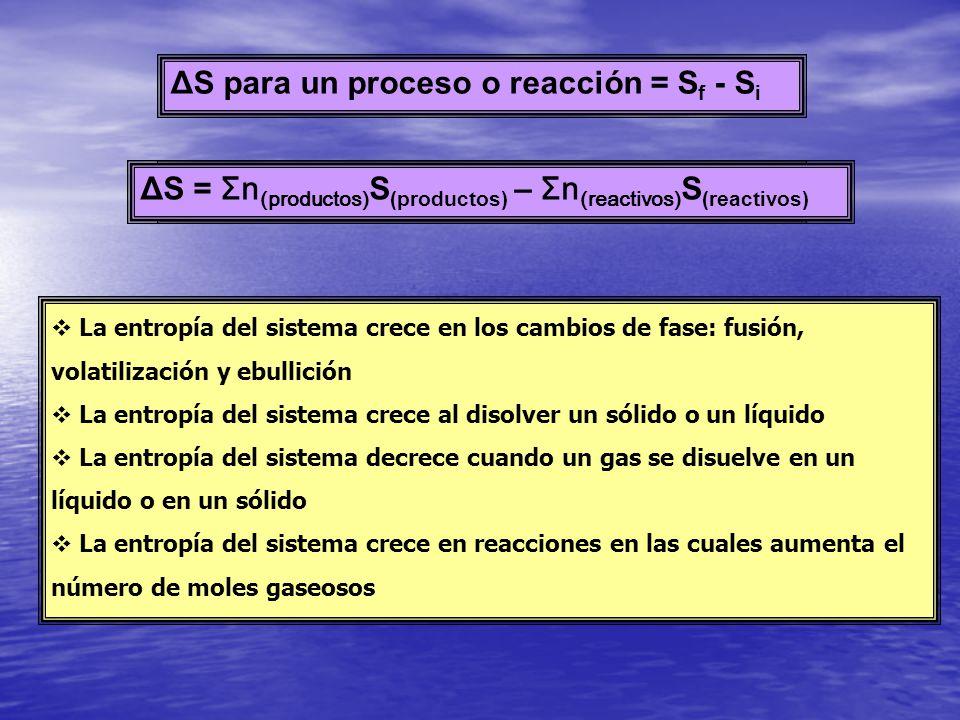 ΔS para un proceso o reacción = S f - S i ΔS = Σn S (productos) – Σn S (reactivos) La entropía del sistema crece en los cambios de fase: fusión, volat