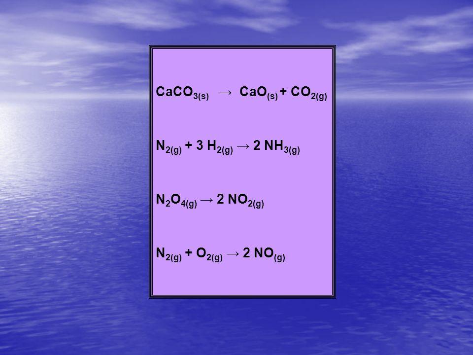 CaCO 3(s) CaO (s) + CO 2(g) N 2(g) + 3 H 2(g) 2 NH 3(g) N 2 O 4(g) 2 NO 2(g) N 2(g) + O 2(g) 2 NO (g)