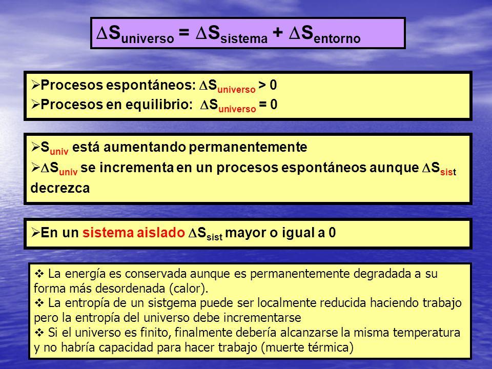 S universo = S sistema + S entorno Procesos espontáneos: S universo > 0 Procesos en equilibrio: S universo = 0 S univ está aumentando permanentemente