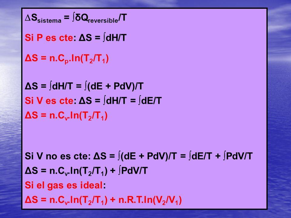 S sistema = δQ reversible /T Si P es cte: ΔS = dH/T ΔS = n.C p.ln(T 2 /T 1 ) ΔS = dH/T = (dE + PdV)/T Si V es cte: ΔS = dH/T = dE/T ΔS = n.C v.ln(T 2