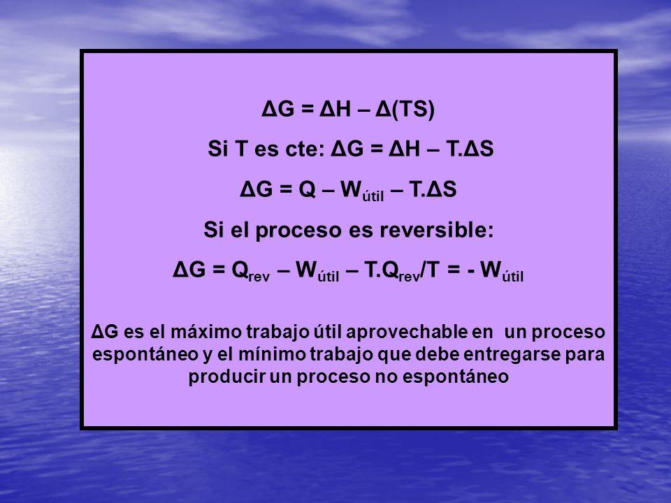 ΔG = ΔH – Δ(TS) Si T es cte: ΔG = ΔH – T.ΔS ΔG = Q – W útil – T. ΔS Si el proceso es reversible: ΔG = Q rev – W útil – T.Q rev /T = - W útil ΔG es el