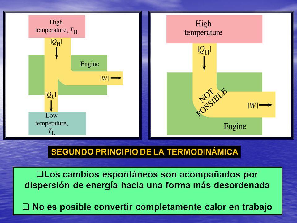 Los cambios espontáneos son acompañados por dispersión de energía hacia una forma más desordenada No es posible convertir completamente calor en traba