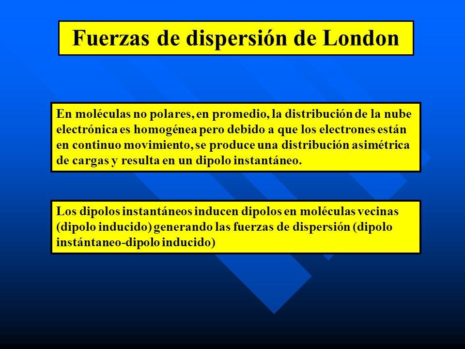 Fuerzas de dispersión de London En moléculas no polares, en promedio, la distribución de la nube electrónica es homogénea pero debido a que los electrones están en continuo movimiento, se produce una distribución asimétrica de cargas y resulta en un dipolo instantáneo.