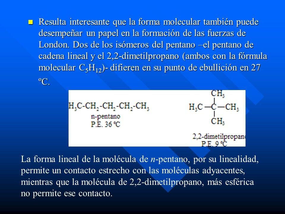Resulta interesante que la forma molecular también puede desempeñar un papel en la formación de las fuerzas de London. Dos de los isómeros del pentano