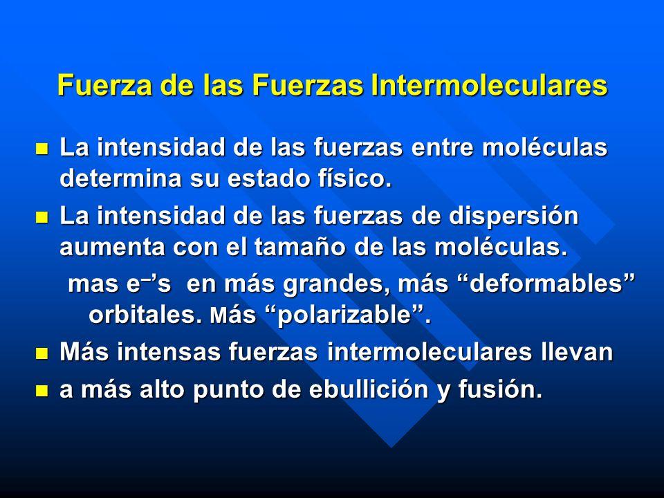 Fuerza de las Fuerzas Intermoleculares La intensidad de las fuerzas entre moléculas determina su estado físico. La intensidad de las fuerzas entre mol