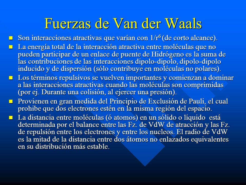 Fuerzas de Van der Waals Son interacciones atractivas que varían con 1/r 6 (de corto alcance). Son interacciones atractivas que varían con 1/r 6 (de c