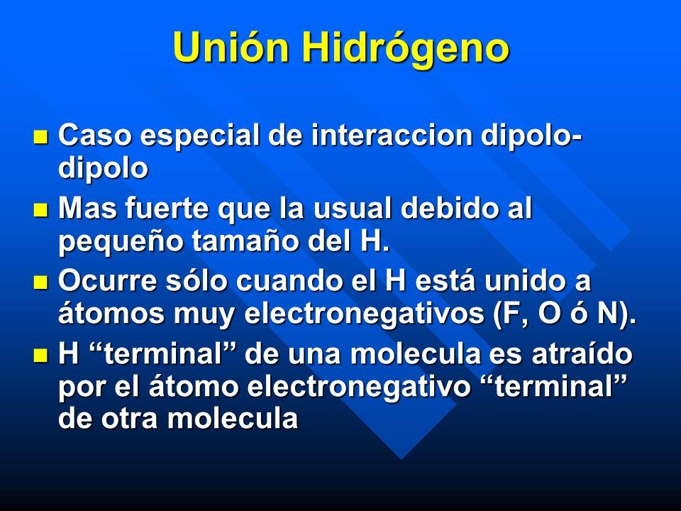Unión Hidrógeno Caso especial de interaccion dipolo- dipolo Caso especial de interaccion dipolo- dipolo Mas fuerte que la usual debido al pequeño tama