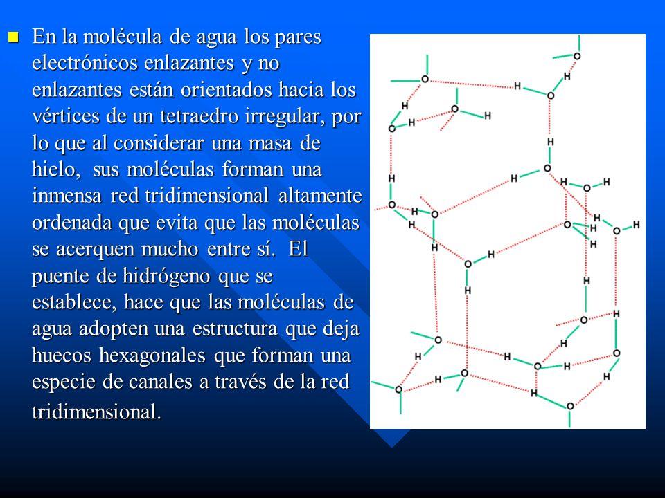 En la molécula de agua los pares electrónicos enlazantes y no enlazantes están orientados hacia los vértices de un tetraedro irregular, por lo que al considerar una masa de hielo, sus moléculas forman una inmensa red tridimensional altamente ordenada que evita que las moléculas se acerquen mucho entre sí.