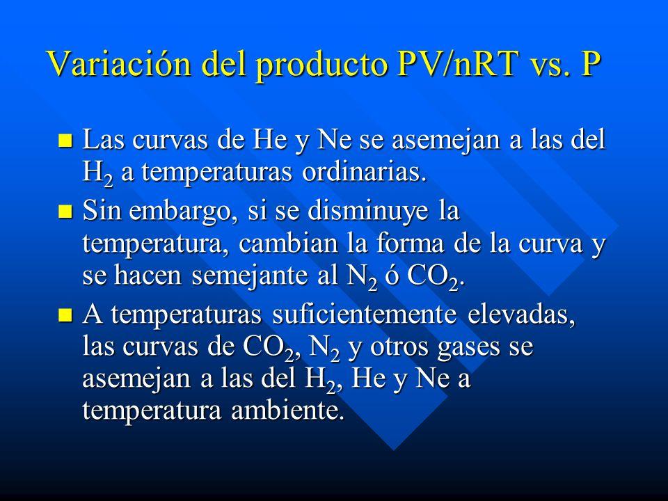 Las curvas de He y Ne se asemejan a las del H 2 a temperaturas ordinarias. Las curvas de He y Ne se asemejan a las del H 2 a temperaturas ordinarias.