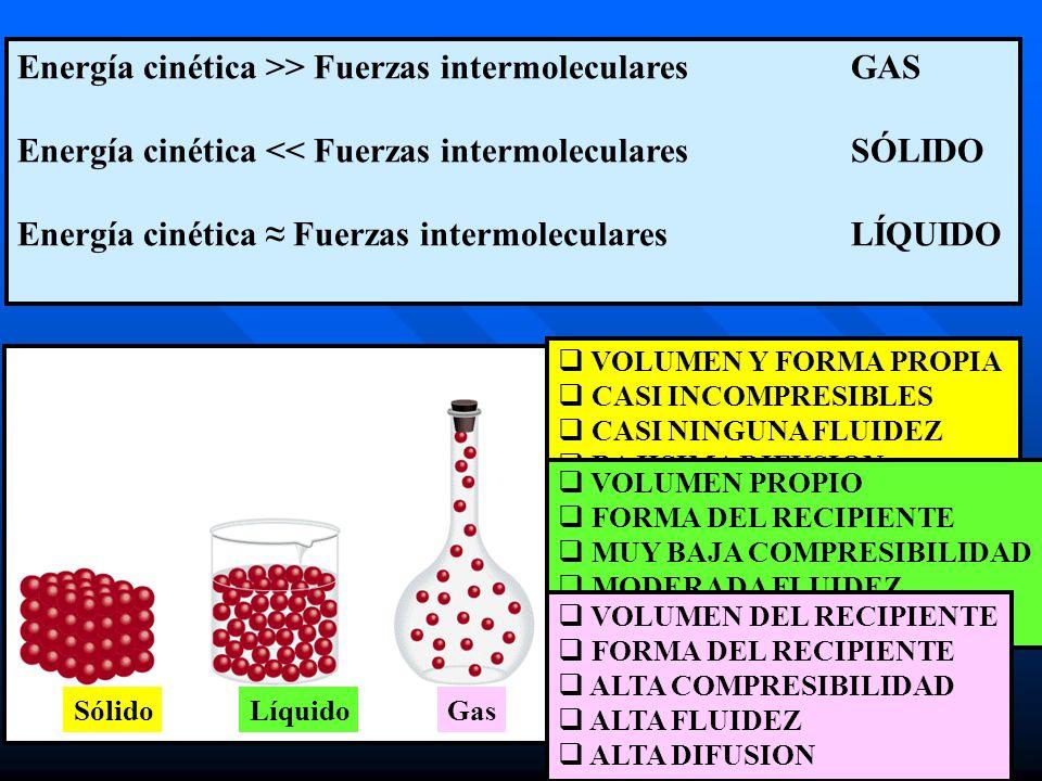 Energía cinética >> Fuerzas intermolecularesGAS Energía cinética << Fuerzas intermolecularesSÓLIDO Energía cinética Fuerzas intermolecularesLÍQUIDO Só