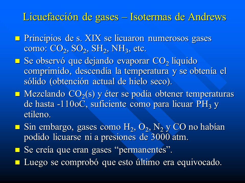 Licuefacción de gases – Isotermas de Andrews Principios de s. XIX se licuaron numerosos gases como: CO 2, SO 2, SH 2, NH 3, etc. Principios de s. XIX