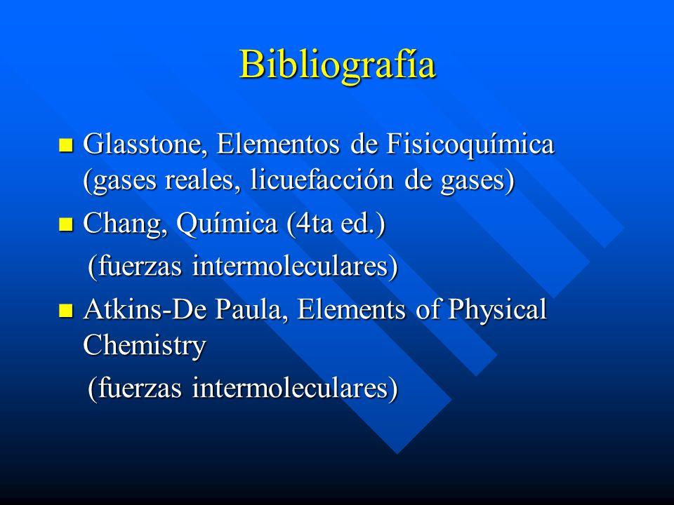 Bibliografía Glasstone, Elementos de Fisicoquímica (gases reales, licuefacción de gases) Glasstone, Elementos de Fisicoquímica (gases reales, licuefac
