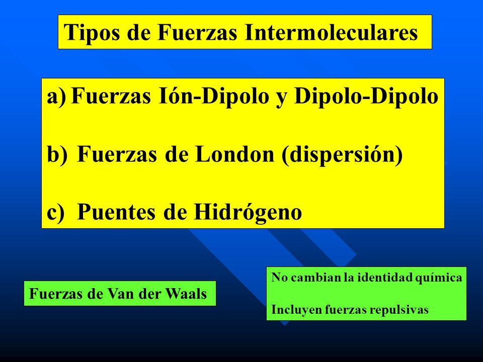 Tipos de Fuerzas Intermoleculares a) a)Fuerzas Ión-Dipolo y Dipolo-Dipolo b) b) Fuerzas de London (dispersión) c) c) Puentes de Hidrógeno Fuerzas de V