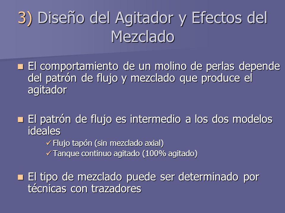 3) Diseño del Agitador y Efectos del Mezclado El comportamiento de un molino de perlas depende del patrón de flujo y mezclado que produce el agitador