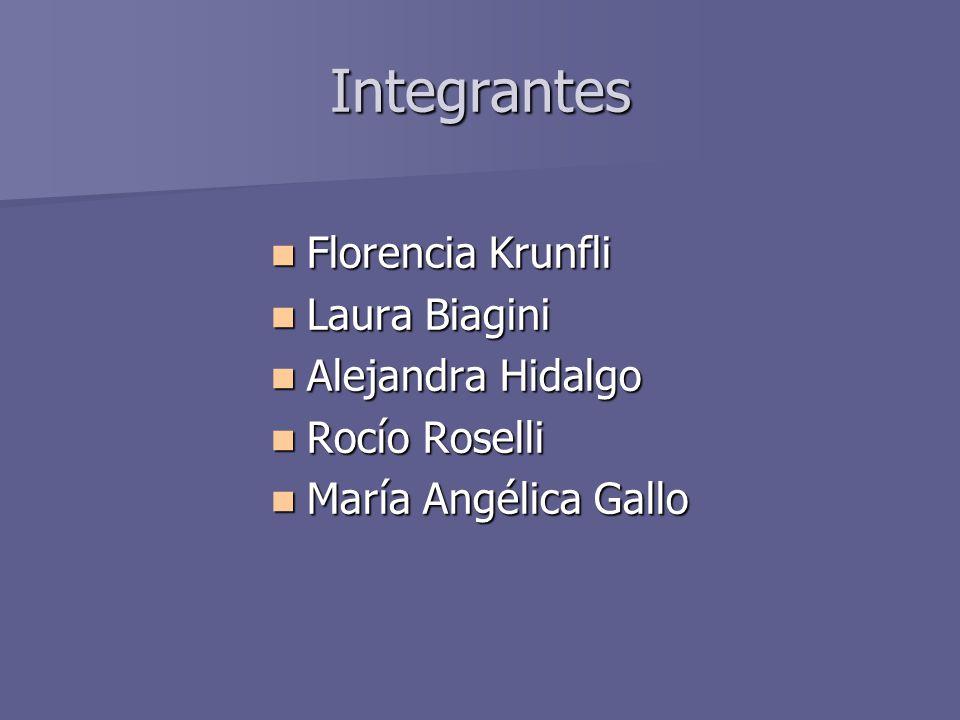 Integrantes Florencia Krunfli Florencia Krunfli Laura Biagini Laura Biagini Alejandra Hidalgo Alejandra Hidalgo Rocío Roselli Rocío Roselli María Angé