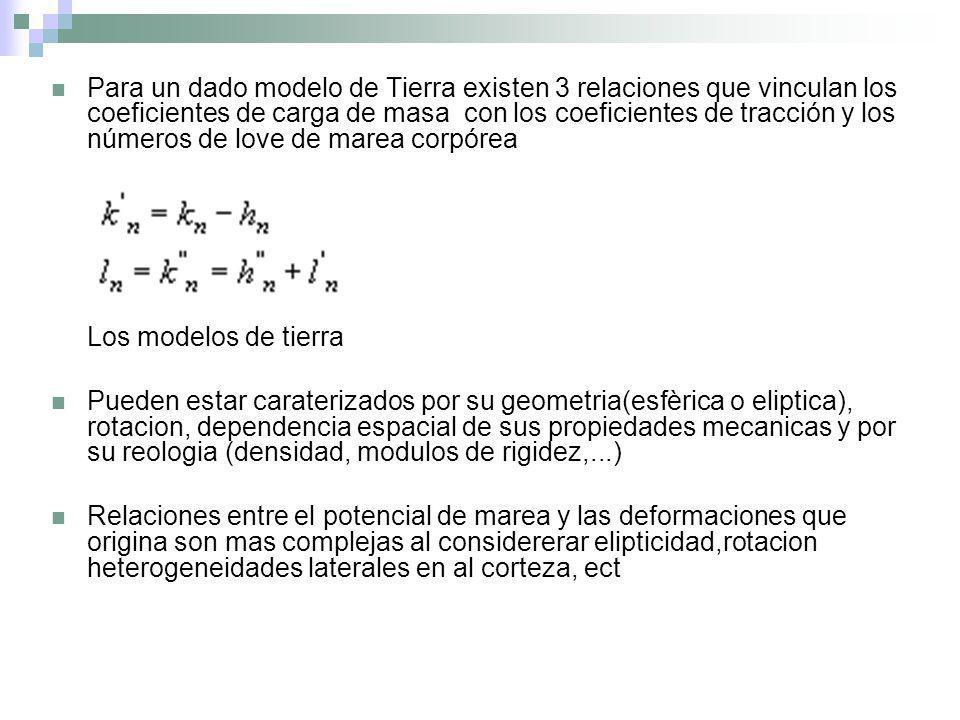 Para un dado modelo de Tierra existen 3 relaciones que vinculan los coeficientes de carga de masa con los coeficientes de tracción y los números de lo