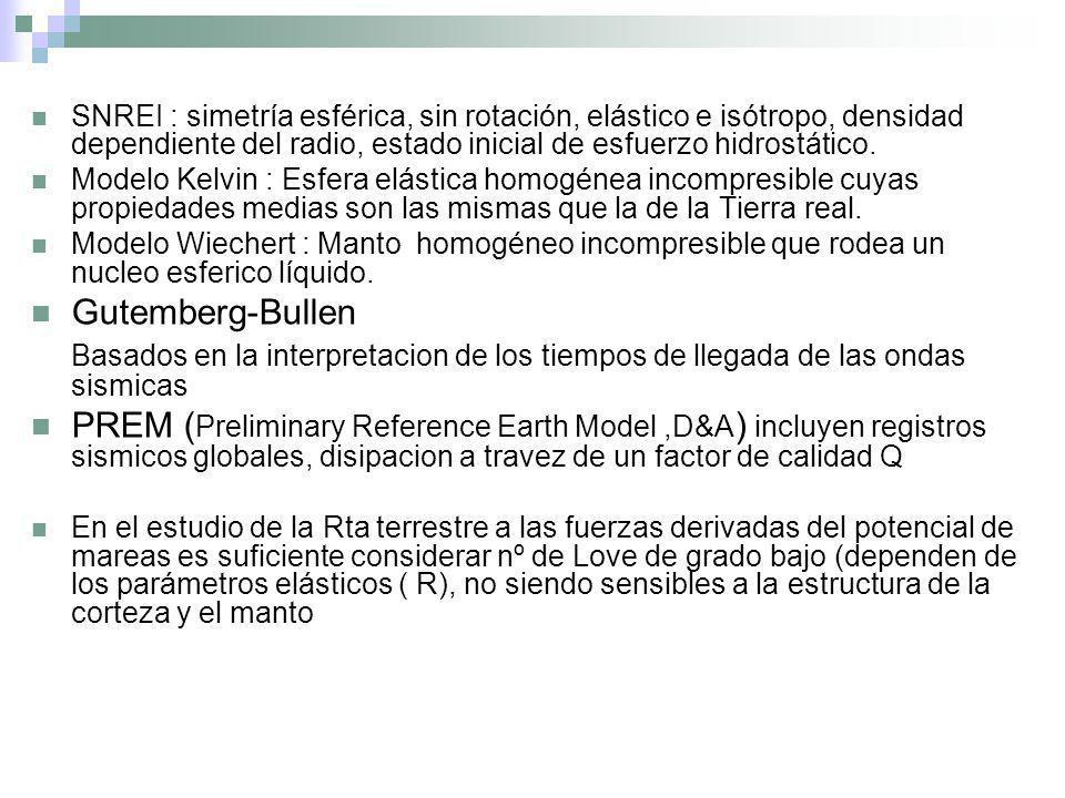 SNREI : simetría esférica, sin rotación, elástico e isótropo, densidad dependiente del radio, estado inicial de esfuerzo hidrostático. Modelo Kelvin :