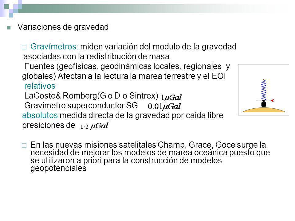 Variaciones de gravedad Gravímetros: miden variación del modulo de la gravedad asociadas con la redistribución de masa. Fuentes (geofísicas, geodinámi