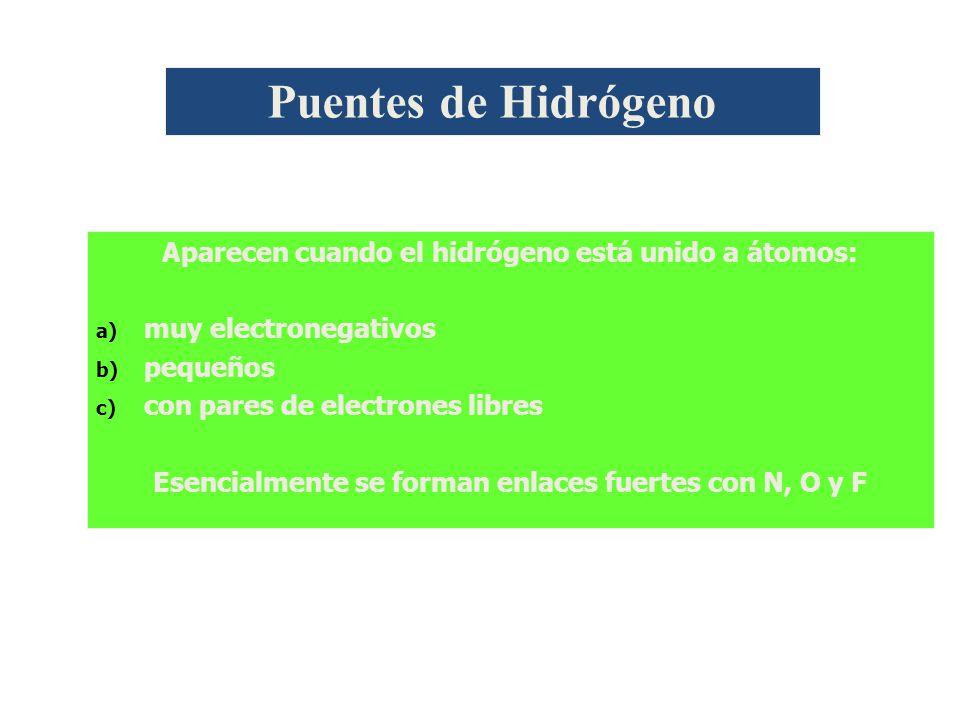 Aparecen cuando el hidrógeno está unido a átomos: a) a) muy electronegativos b) b) pequeños c) c) con pares de electrones libres Esencialmente se forman enlaces fuertes con N, O y F Puentes de Hidrógeno