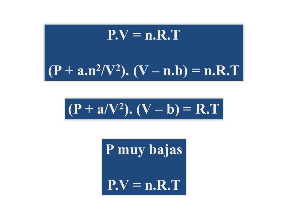 P.V = n.R.T (P + a.n 2 /V 2 ).(V – n.b) = n.R.T (P + a/V 2 ).