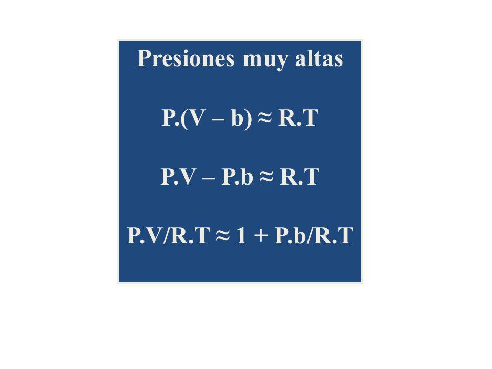 Presiones muy altas P.(V – b) R.T P.V – P.b R.T P.V/R.T 1 + P.b/R.T