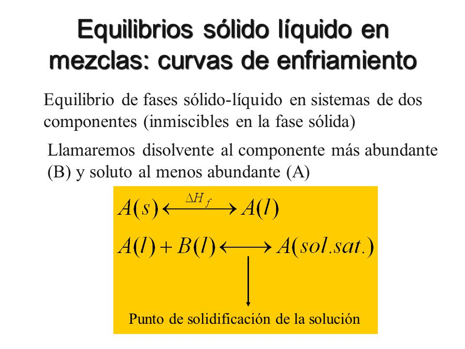 Equilibrios sólido líquido en mezclas: curvas de enfriamiento Equilibrio de fases sólido-líquido en sistemas de dos componentes (inmiscibles en la fas