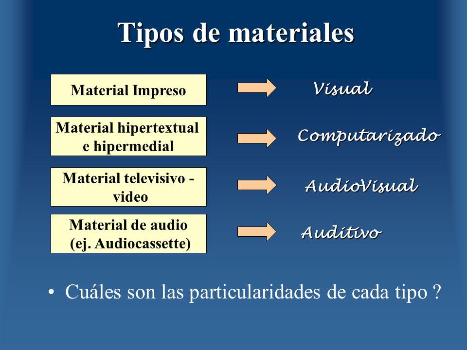 Tipos de materiales Cuáles son las particularidades de cada tipo ? Material Impreso Material hipertextual e hipermedial Material televisivo - video Ma