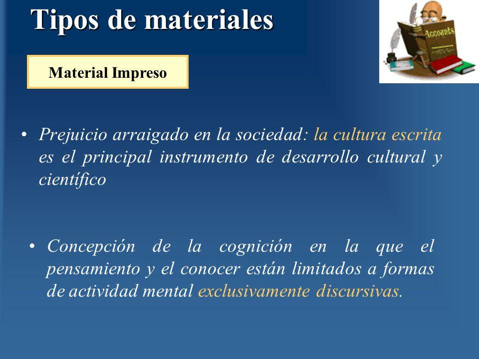 Tipos de materiales Prejuicio arraigado en la sociedad: la cultura escrita es el principal instrumento de desarrollo cultural y científico Material Im