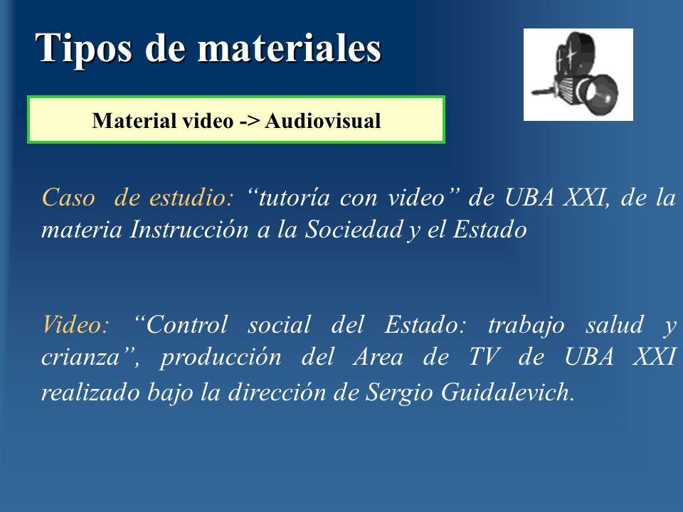 Caso de estudio: tutoría con video de UBA XXI, de la materia Instrucción a la Sociedad y el Estado Video: Control social del Estado: trabajo salud y c