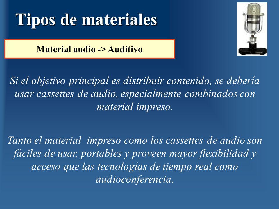 Si el objetivo principal es distribuir contenido, se debería usar cassettes de audio, especialmente combinados con material impreso. Tanto el material