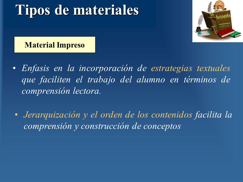 Enfasis en la incorporación de estrategias textuales que faciliten el trabajo del alumno en términos de comprensión lectora. Material Impreso Jerarqui