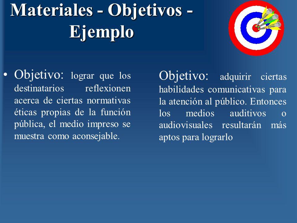 Materiales - Objetivos - Ejemplo Objetivo: lograr que los destinatarios reflexionen acerca de ciertas normativas éticas propias de la función pública,