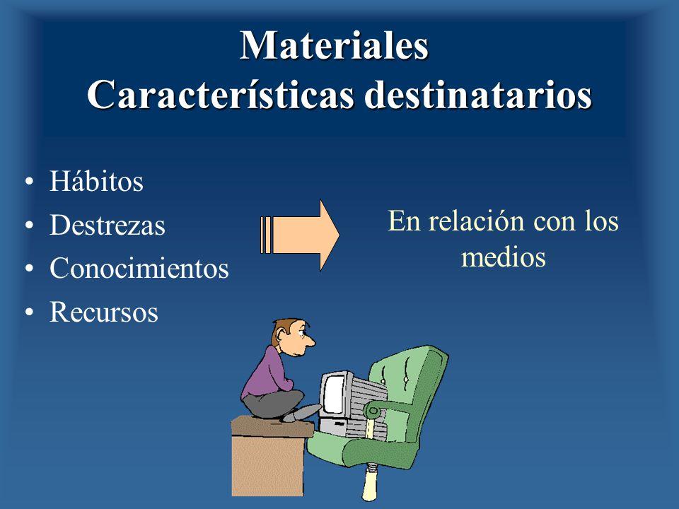 Materiales Características destinatarios Hábitos Destrezas Conocimientos Recursos En relación con los medios