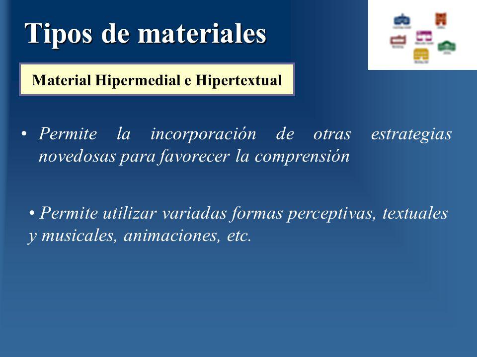 Permite la incorporación de otras estrategias novedosas para favorecer la comprensión Material Hipermedial e Hipertextual Permite utilizar variadas fo