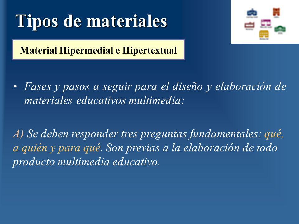 Fases y pasos a seguir para el diseño y elaboración de materiales educativos multimedia: Tipos de materiales Material Hipermedial e Hipertextual A) Se